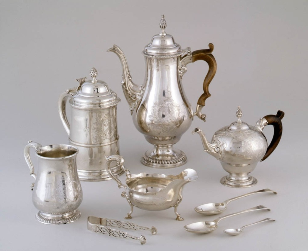 This beverage service of 45 pieces was the largest commission Revere executed. Coffeepot, tankard, teapot, butter boat, tea tongs and spoons made for Lois Orne and William Paine by Paul Revere Jr (1735-1818), 1773. Silver, wood. Worcester Museum of Art, Worcester, Mass.; Gift of Frances Thomas and Eliza Sturgis Paine, in memory of Frederick William Paine; Gift of Dr and Mrs George C. Lincoln of Woodstock, Conn., in memory of Fanny Chandler Lincoln (1959); Gift of Paine Charitable Trust (1965).