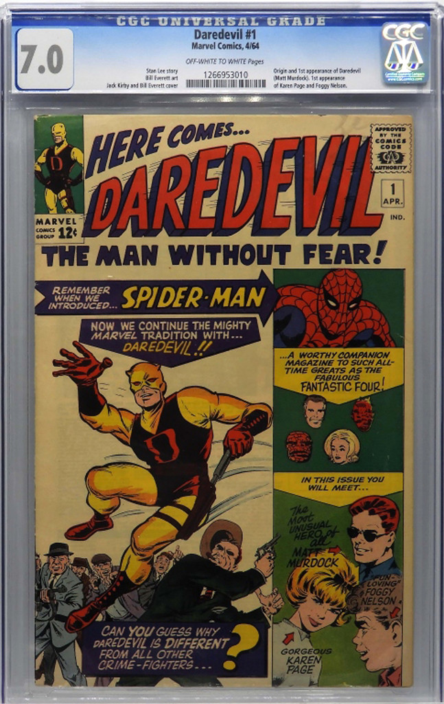 Graded 7.0, Marvel Comics' Daredevil #1, April 1964, reached $3,894. The book featured the origin and first appearance of Daredevil and the first appearance of Karen Page and Foggy Nelson.