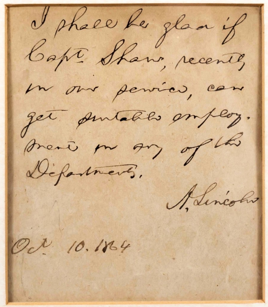 Signed by US President Abraham Lincoln and dated 1864, the note recommending Captain Shaw, along with Shaw's discharge, sold for $6,900.