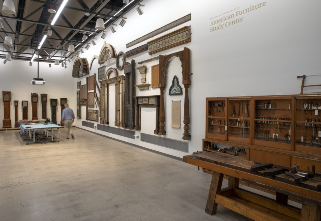 The Hume Furniture Study at Yale West Campus displays more than 1,300 artifacts, among them rarely seen architectural woodwork and historic tools.