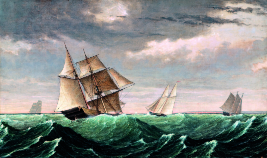 "Fitz Henry Lane's ""Vessel Returning from Surinam,"" oil on canvas, 18 by 30 inches, depicting sailing vessels tossed on ocean waves under cloud-filled skies with a view to a distant coast and lighthouse, sold for $92,250."