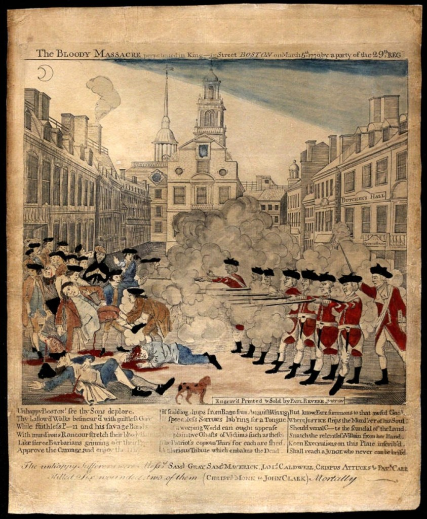 """While Revere's engraving was the first to be published, the propagandistic image circulated widely soon after the event, according to Hewes. Three versions by Revere and three versions by other printers are on display. """"The Bloody Massacre Perpetrated on King-Street, Boston on March 5th 1770 by a Party of ye 29thReg[imen]t"""" by Paul Revere Jr (1735-1818), engraver; attributed to Christian Remick (1726-73), circa 1770-74. Hand colored engraving. Gilder-Lehrman Institute of American History."""