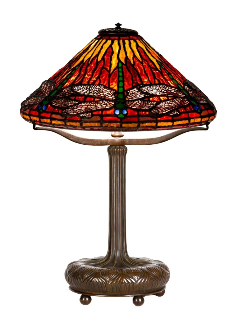 Of the 12 Tiffany Studios lamps in the sale, this Dragonfly example sold the highest at $64,900.