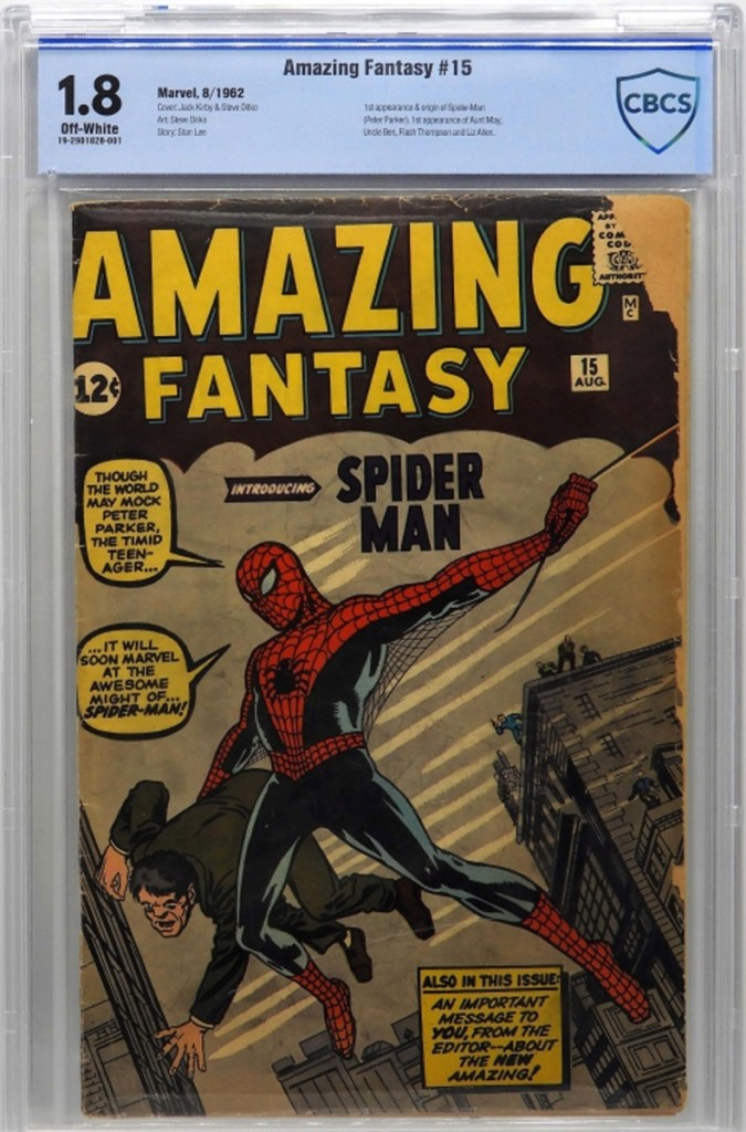 The highest priced lot in the sale, finishing at $10,950, was a copy of Marvel Comics' Amazing Fantasy #15 from August 1962. The book featured the first appearance and origin story of Spider-Man and the first appearance of Aunt May, Uncle Ben, Flash Thompson and Liz Allen. It was graded 1.8 and went to a collector in the room who had come from Albany, N.Y., hoping to purchase it.