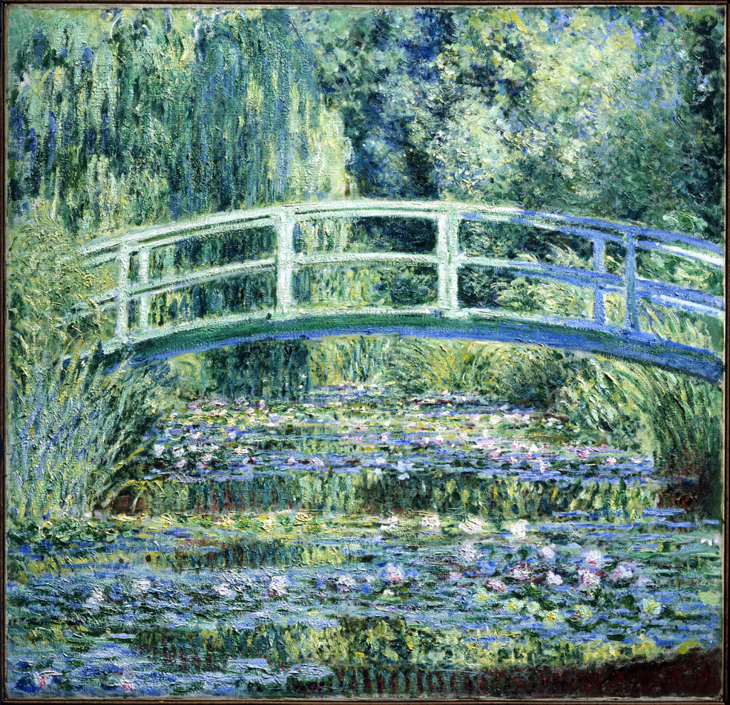 """""""Waterlilies and Japanese Bridge"""" by Claude Monet, 1899. Oil on canvas, 35-5/8 by 35-5/16 inches. Princeton University Art Museum: From the Collection of William Church Osborn, class of 1883, trustee of Princeton University (1914–1951), president of the Metropolitan Museum of Art (1941–1947); given by his family, 1972–15. Photo Credit: Princeton University Art Museum/Art Resource, NY."""
