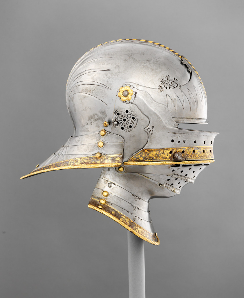 Combination Sallet and Bevor of Maximilian I by Lorenz Helmschmid (first recorded 1467, died 1516), German (Augsburg), circa 1495. Steel, leather, copper alloy, and gold; 15 by 13-5/8 by 8-15/16 inches. Kunsthistorisches Museum, Vienna, Imperial Armoury (A 110 1). Photo credit: Bruce M. White, 2019.