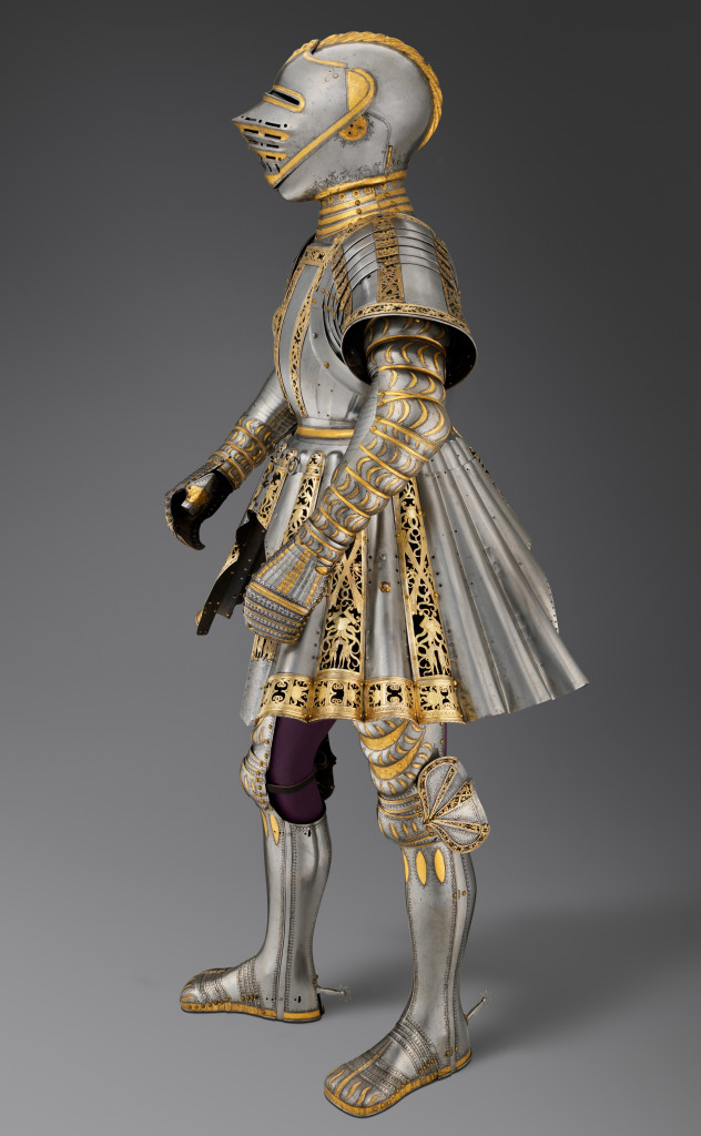 Ceremonial Armor of Charles V by Conrad Seusenhofer (first recorded 1500, died 1517), Austrian (Innsbruck) and German (Augsburg), circa 1512-14. Steel, silver, gold, copper alloy, textile, and leather; as mounted: 58-5/8 by 27½ by 21-5/8 inches. Kunsthistorisches Museum, Vienna, Imperial Armoury (A 109). Photo credit: Bruce M. White, 2019.