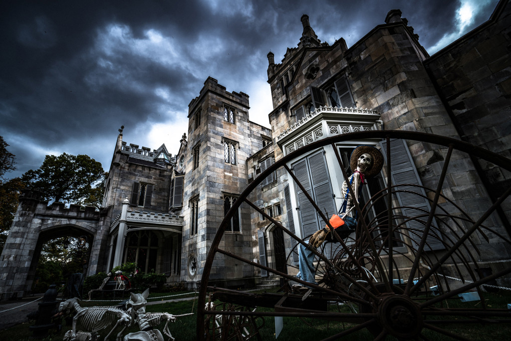 Lyndhurst with eerie clouds and skeleton farmer during Jay Ghoul's 'House of Curiosities.' —Clifford Pickett photo
