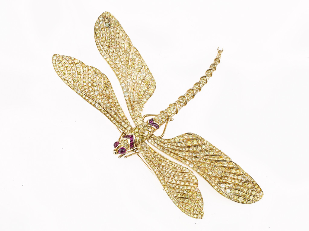 Fancy vivid yellow diamond dragonfly brooch, commissioned by Fred Leighton and made by Carving French for Patricia Kluge, featuring 60.26 carats of diamonds, setting made en tremblant. MS. Rau Antiques, New Orleans, La.