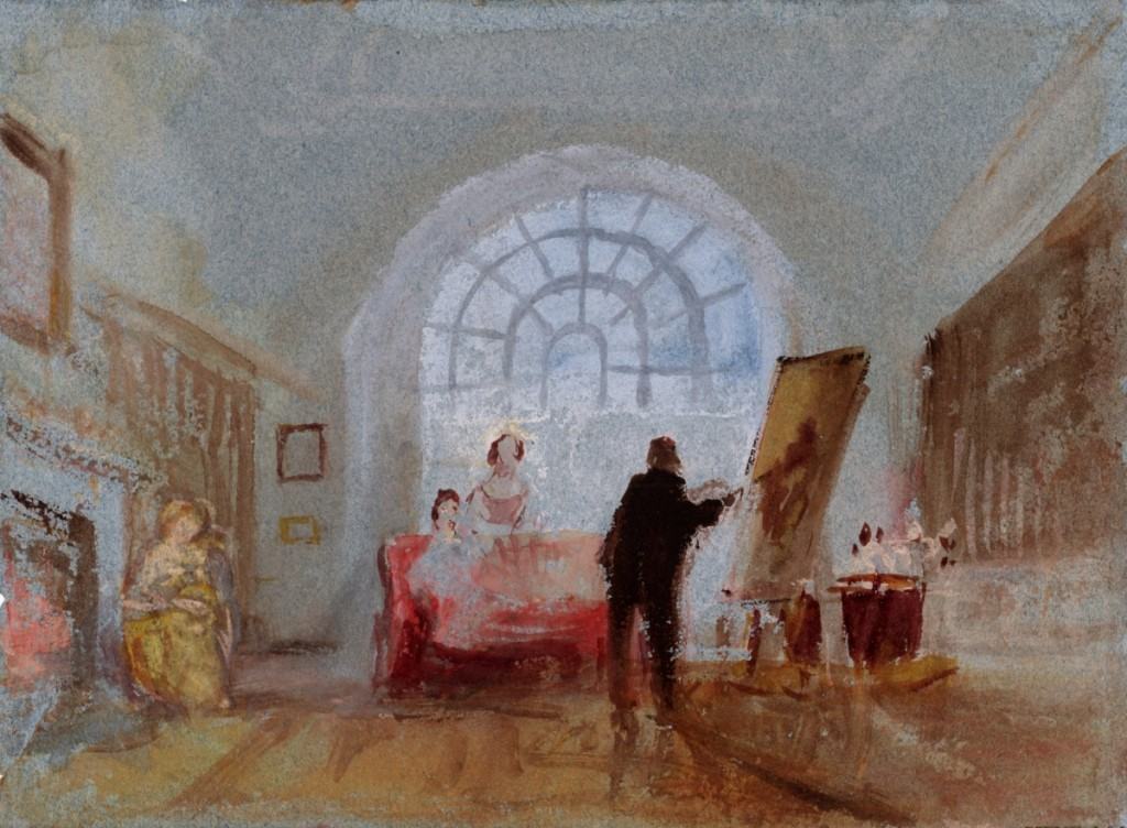 """""""The Artist and his Admirers"""" by J.M.W. Turner, 1827. Watercolor and bodycolor on paper."""