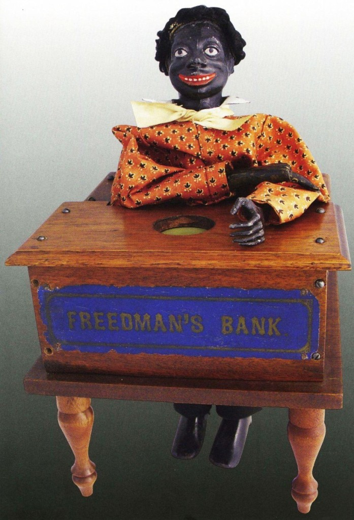 The top lot in the sale was this Freedman's Bank, circa 1880, in wood, metal and cloth. It brought $98,400.