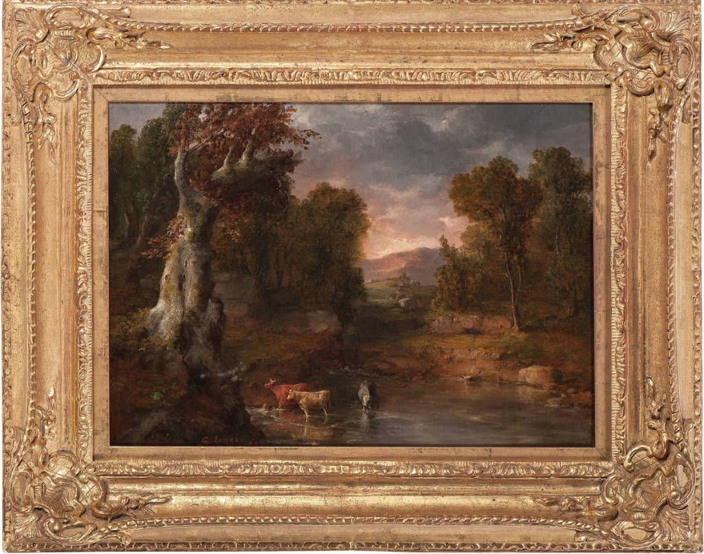 """George Inness (1825-1894), """"The Watering Hole,"""" 1850, oil on canvas, signed lower left, 16 by 22 inches, brought $45,000."""