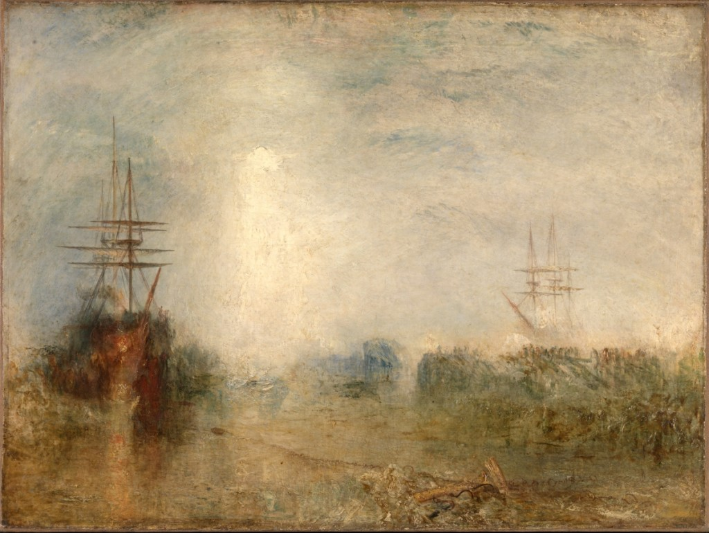 """""""Whalers (Boiling Blubber) Entangled In Flaw Ice, Endeavoring To Extricate Themselves"""" by J.M.W. Turner, exhibited 1846. Oil paint on canvas."""