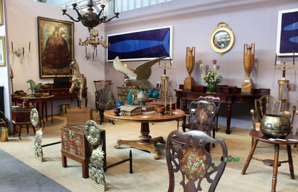 Yew Tree House Antiques specializes in English furniture, folk art and works of art, but the booth at the show was eclectic and diverse, featuring American horse weathervanes, large indigo stencil works by contemporary British artist Julian Meredith and an oversize Spanish Colonial painting of a Madonna, which had just been restored. New York City.
