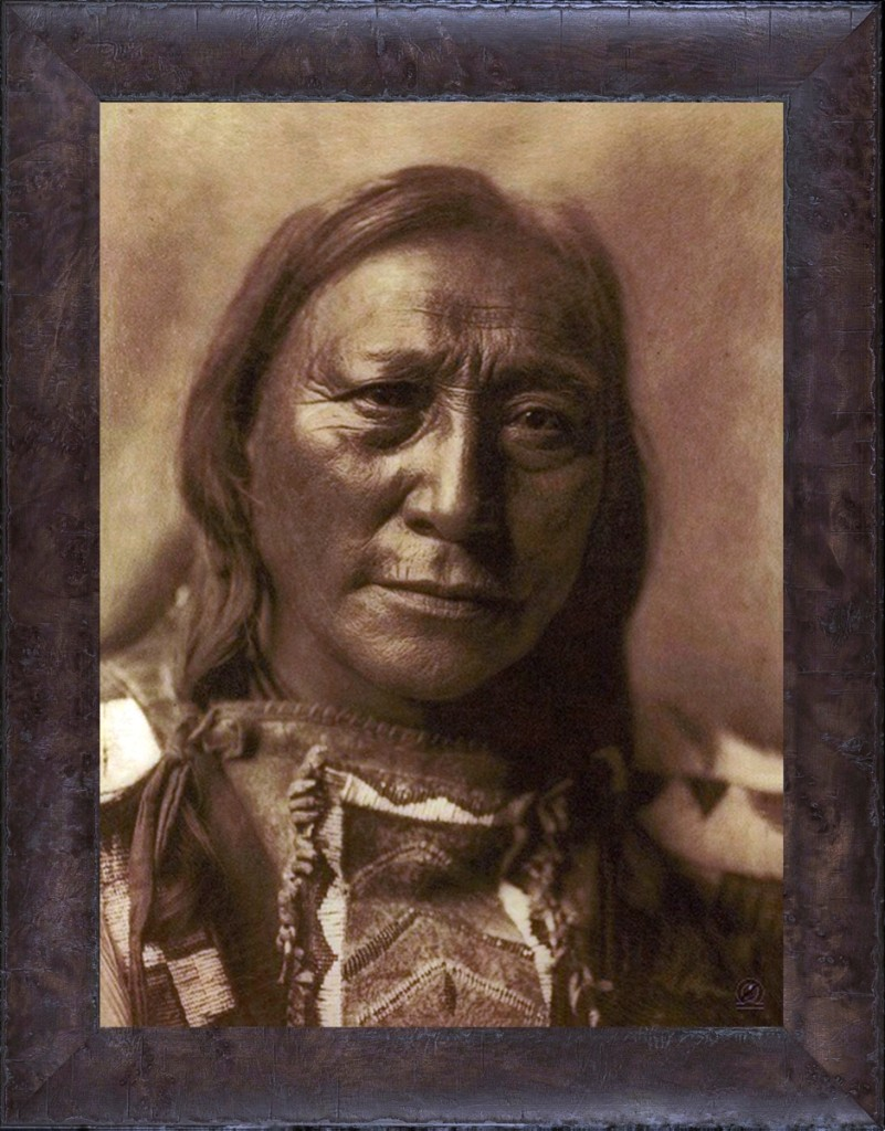 """Hollow Horn Bear,"" Edward Curtis. A Brulé Lakota leader and revered Holy Man, Hollow Horn Bear fought at the Battle of the Little Big Horn. Paul Unks gave this photogravure, framed, to Selo Black Crow, Hollow Horn Bear's great nephew. Gold Tone by Mountain Hawk."