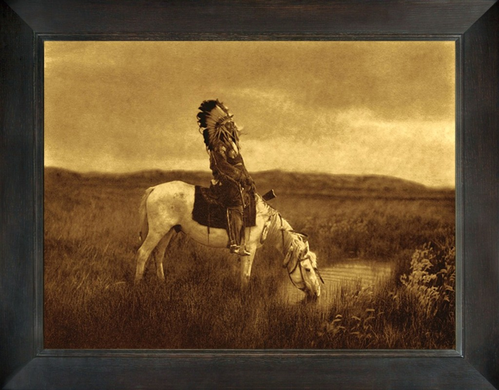 """An Oasis in the Badlands,"" Edward Curtis. Chief Red Hawk, Oglala Lakota, on his horse getting a drink. Red Hawk fought at the Battle of the Little Bighorn alongside Crazy Horse, leader of the Lakota nation. Gold Tone by Mountain Hawk."