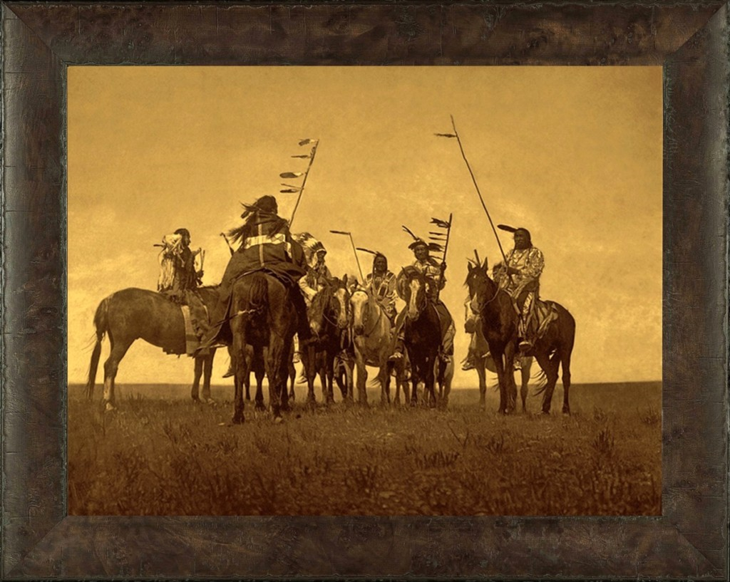 """Atsina Warriors,"" Edward Curtis. A formidable group of Atsina warriors gathered on the prairie near what is now known as Fort Belknap, Mont. Gold Tone by Mountain Hawk."