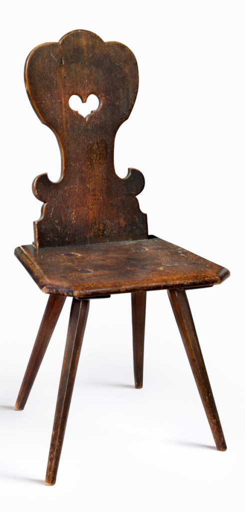 Board chair, probably Nazareth, Northampton County, Penn., 1750-85. Walnut, red oak. Rocky Hill Collection. This chair is from the Moravian Sisters' House in Nazareth. Known as a Brettstuhl, the chair's seat and back is made of sawn boards while the legs were shaped by a plane or knife. Gallery Two.