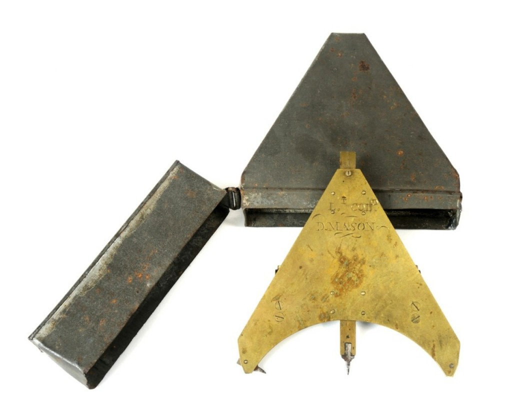 A final price of $18,000 was posted for this unusual piece of militaria. Not unlike a surveyor's tool, the gunner's perpendicular — this particular one traced to Lieutenant Colonel David Mason, circa 1776 — enabled a gunner to establish the center line of an artillery piece and thus its direction of fire.