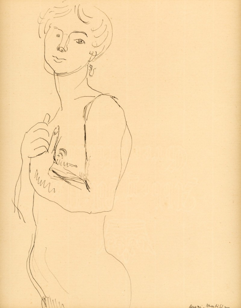 "A good result for this sketch by Henri Matisse (French, 1869-1954) was $45,500. ""L'Idole,"" a 1906 pen and ink on paper, had been exhibited five times."