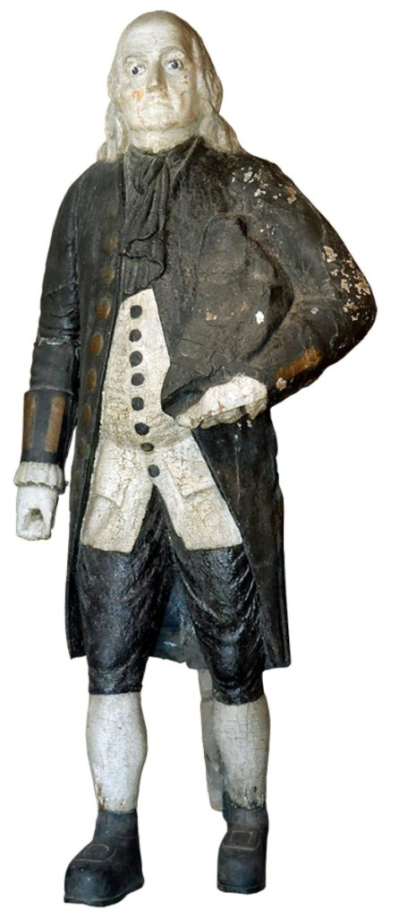 Tied for the top price of the sale was this 82-inch-tall steamship figurehead of Benjamin Franklin. The steamer of that name sunk in Lake Superior in 1850 and this figurehead was salvaged. It sold for $29,250 to a phone bidder, who had strong competition.