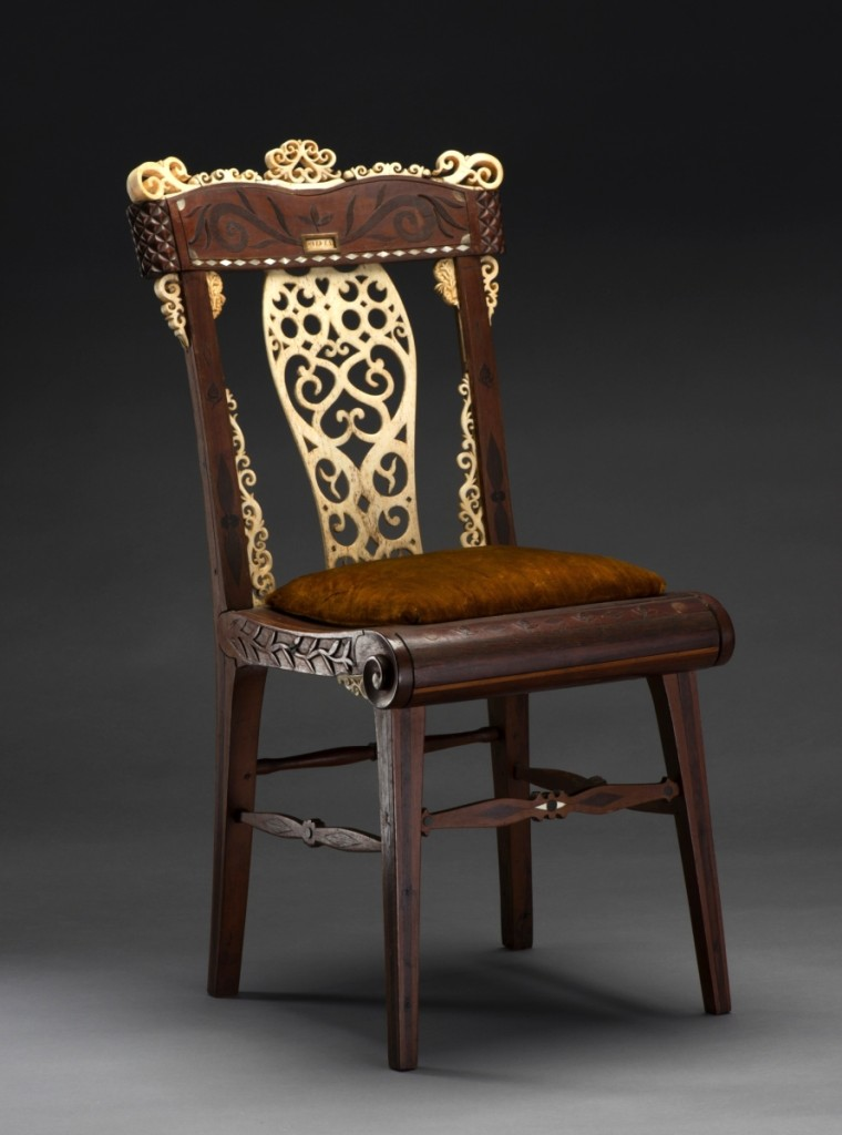 Artist in New Bedford, Mass., Child's chair, 1815–20. Various woods, whalebone, walrus tusk, baleen, mother-of-pearl, and wool,   29   by 14   by 17   inches.   Museum purchase, made possible by the   John Robinson Endowment Fund, 2015.53.1.