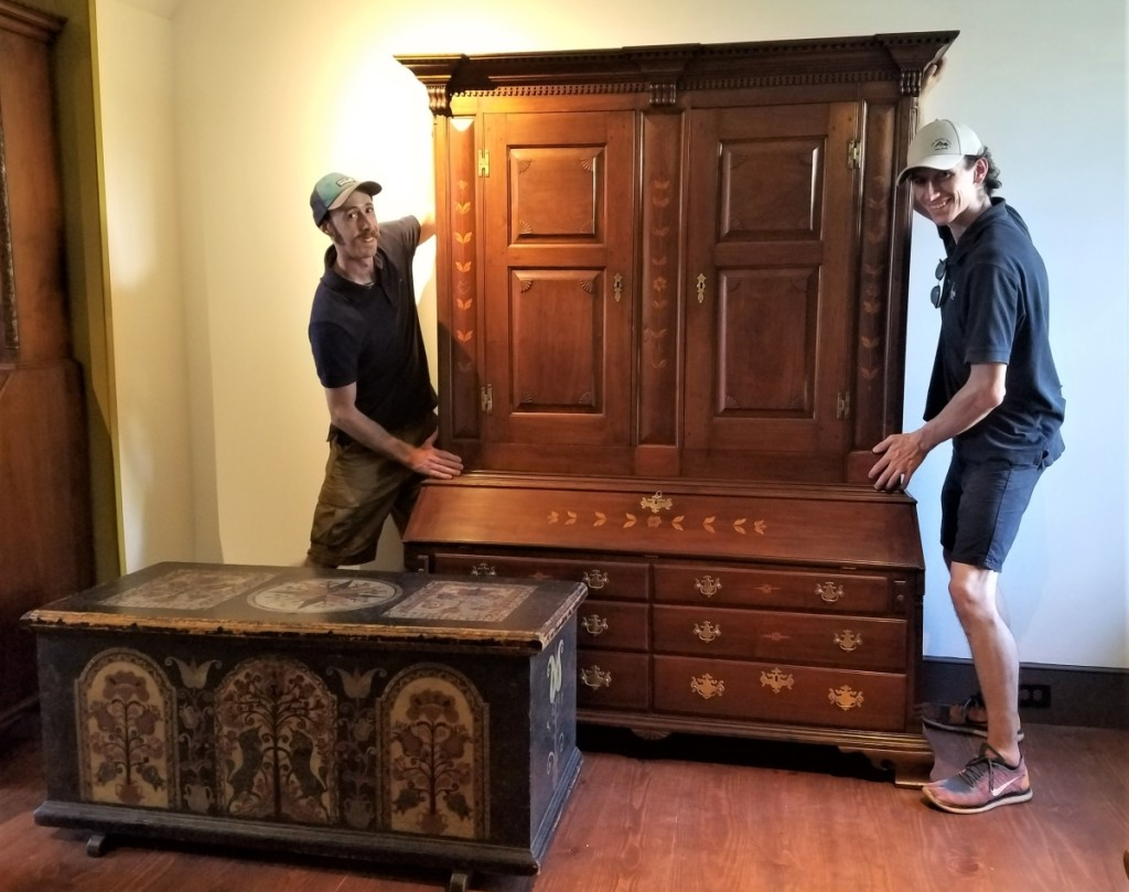 Pook & Pook helped with the move-in in late August. On long-term display in Gallery 4 is the circa 1780-1800 Lancaster or Lebanon County, Penn., wardrobe and desk, a promised gift to Historic Trappe from William K. du Pont. One of Minardi's favorite pieces is Black Unicorn chest made for Catarina Zumbro of Bern Township in Berks County, Penn., in 1784. It is from a private collection. Photo Lisa Minardi.