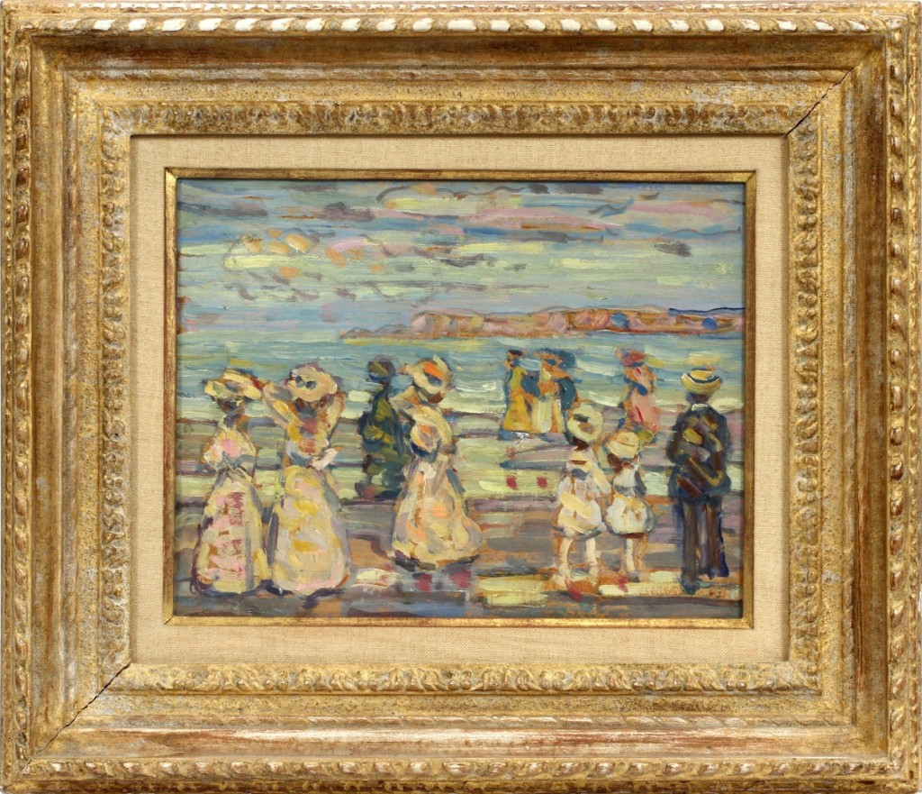 "Maurice Prendergast (Canadian American, 1858-1924) ""Beach at Cape Ann,"" an oil and pencil on paper, 10-  by 13½ inches, realized $179,800."