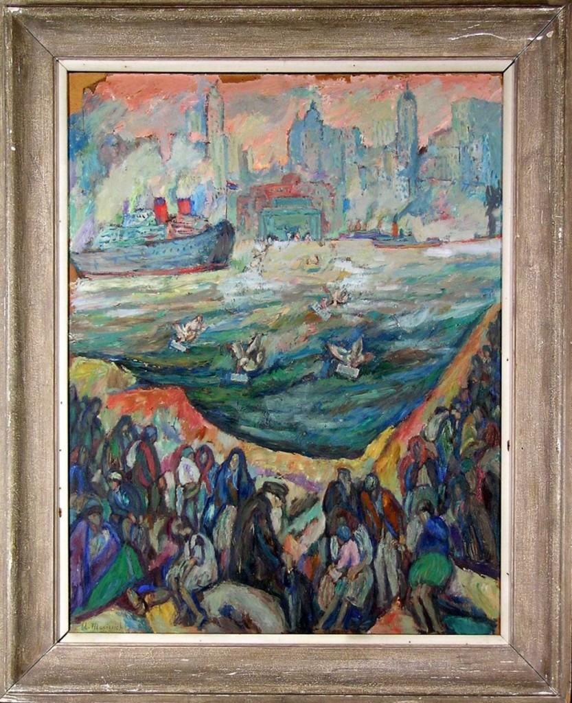 """The highest priced item in the sale was this Expressionist painting by Abraham Manievich. It depicted immigrants on Ellis Island in New York harbor looking towards New York City, with ships in the harbor. It was titled """"Hope of Immigration"""" and it sold for $14,400."""