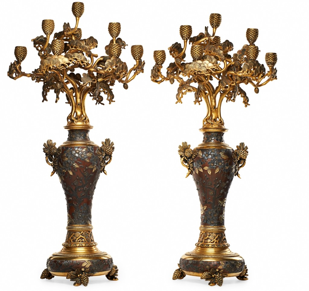 Leading both days was this pair of Christofle candelabra that sold for $87,500.