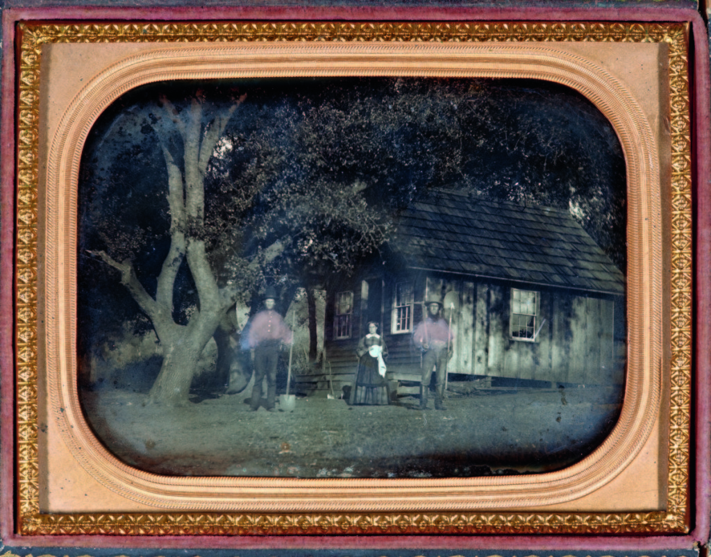 """""""Miners with cabin"""" by unknown maker, California, circa 1853. Daguerreotype, quarter plate, 3¼ by 4¼ inches.    —Gift of the Hall Family Foundation."""