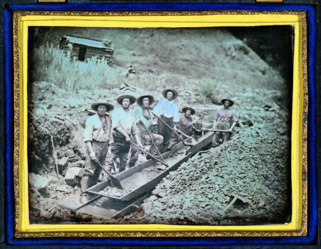 """""""Gold miners with sluice"""" by unknown maker, California, circa 1852. Daguerreotype, quarter plate, 3¼ by 4¼ inches.      —Gift of Hallmark Cards, Inc."""