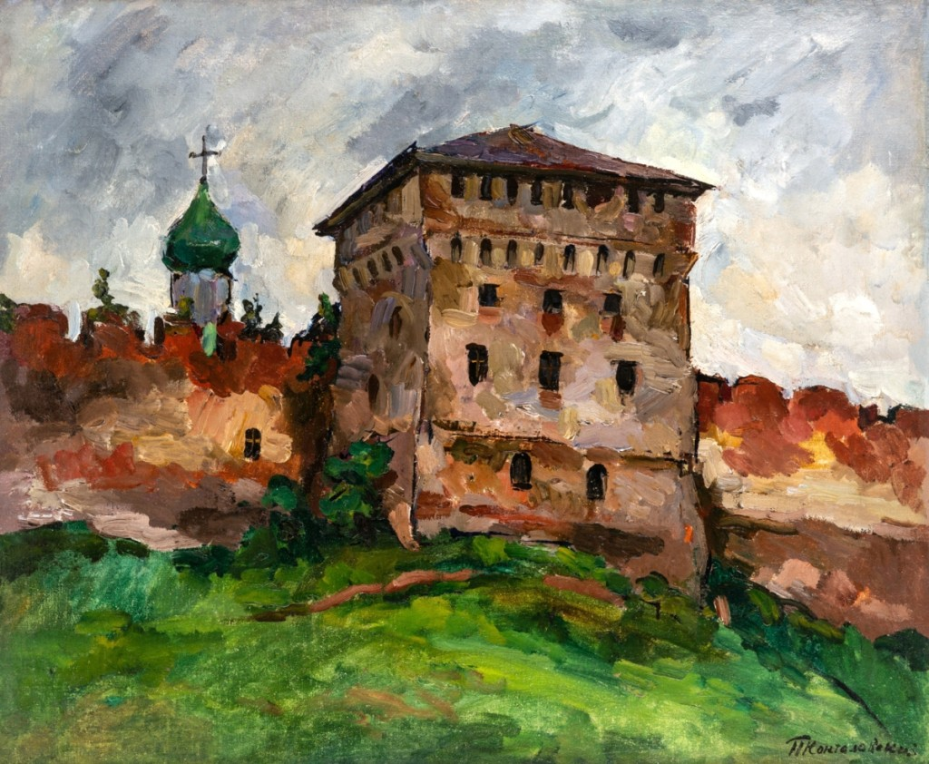 "At $131,250, the third highest lot in the sale, was Petr Konchalovsky's (1876-1956) 23- -by-31¾-inch oil on canvas titled ""Panorama of Novgorod."""