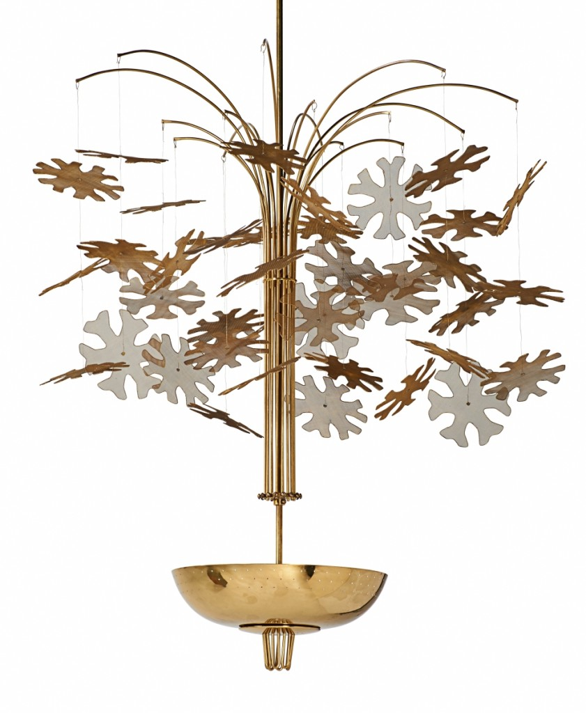 This Paavo Tynell-style, unmarked, four-light chandelier, Finland, 1950s, 41-by-32-inch brass, enameled brass, was thought by bidders to be by Paavo Tynell (1890-1973) selling at $32,500.