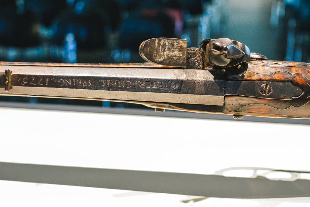 "The firearm features the words ""Oerter. Chris. Spring. 1775"" along the top of the barrel before the rear sight. —Photos courtesy Museum of the American Revolution"