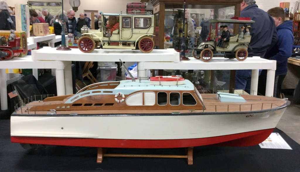This 4-foot-long boat, Queen, belonging to Dave Hudson, Westland, Mich., was manufactured by ITO in 1950, four screw and in original mint condition. She takes 24 D-size batteries to motor upon a pond.