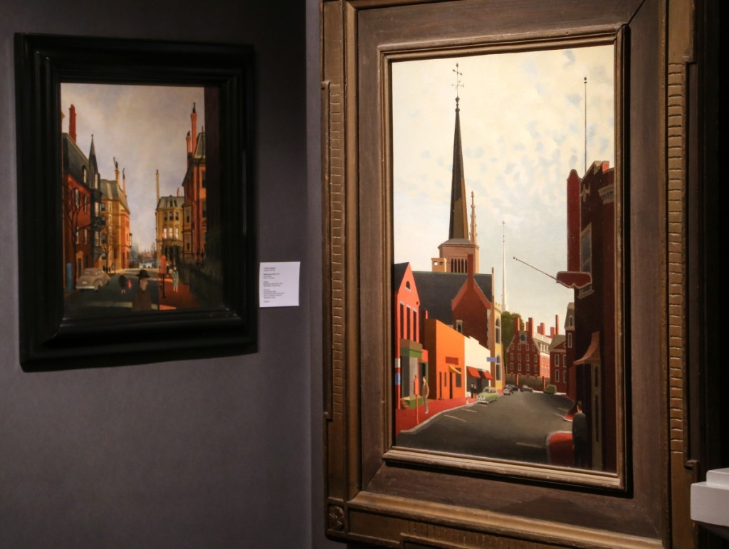 "Two Boston scenes from Massachusetts artist and architect Thomas Fransioli (1906-1997) can be seen here on exhibit with Susanna J. Fichera Fine Art, Brunswick, Maine. At right is ""Church Street, Cambridge,"" a 1954 oil on canvas, and behind left is ""Berkeley Street, Boston,"" a 1946 oil on Masonite."
