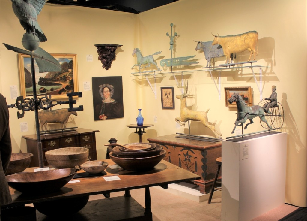 Sales on opening night with Jeffrey Tillou Antiques, Litchfield, Conn., included a Jewell horse and rider weathervane and an eagle-painted panel from New England or New York.