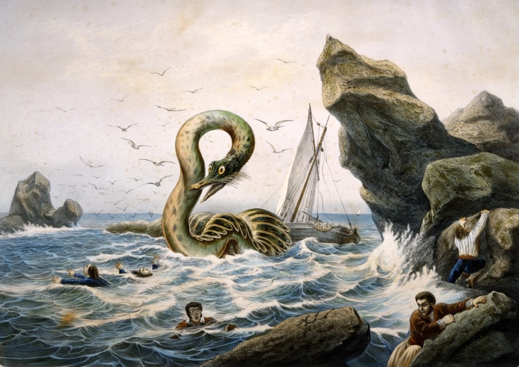 "Yves, Active mid-1800s, Printed by Imprimeries Lemercier, Paris ,   ""The Great Sea Serpent (Le Grand Serpent de Mer),"" mid-1800s, Colored lithograph."