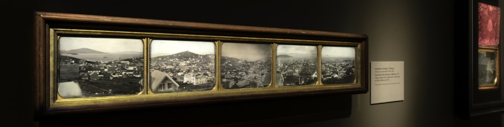 One of the most important exhibits is a multiple-plate panorama of San Francisco as it appeared in 1851, attributed to American daguerreotypist Sterling C. McIntyre (active 1844-1852). He also made single half-plate views of notable points of interest in the city, such as the harbor with its masted ships.