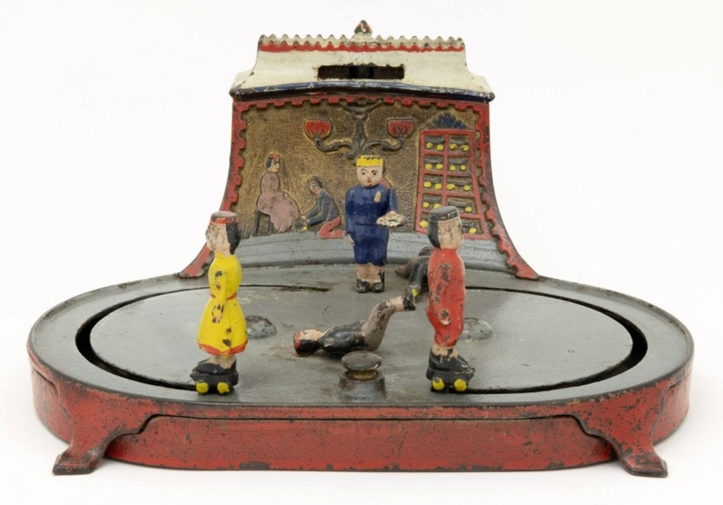 Another whimsical mechanical bank is the Roller Skating Bank that provides lots of enjoyable movement of skaters on a pond, including one little fellow who fell on his back. Lots of vivid color, including the back drop of a skate rack with chandelier, keeps one smiling while putting pennies in the slot. This cast iron bank by Kyser & Rex, 1880s, still in pristine condition, sold for $60,000, just slightly over the low estimate.