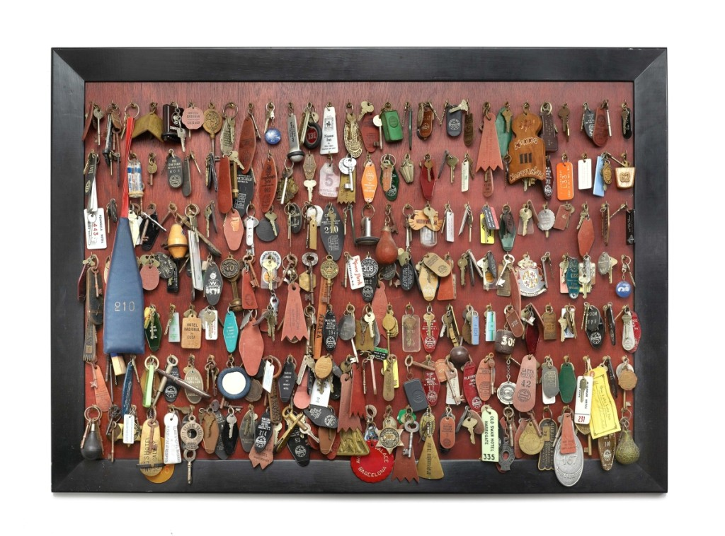 Hotel keys, 1951–86. Metal, wood, plastic, cloth, leather. The Mitchell Wolfson Jr Private Collection.