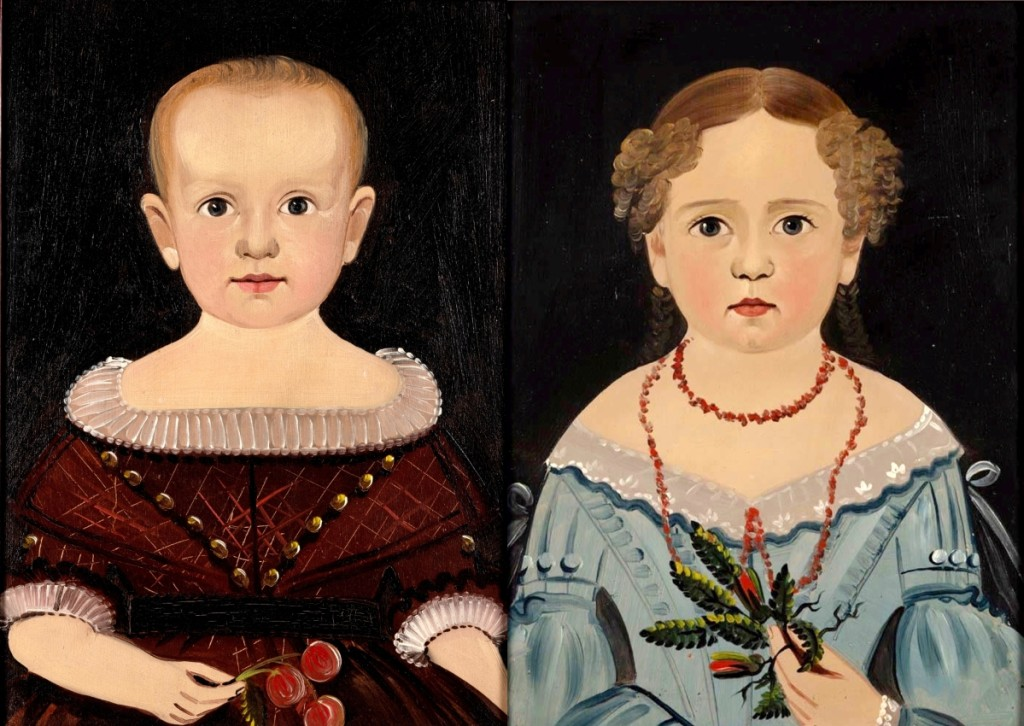 The top lot of the sale was this pair of Sturtevant J. Hamblin folk art portraits of children, circa 1830, which sold for $64,350 to a collector on the phone ($30/50,000).