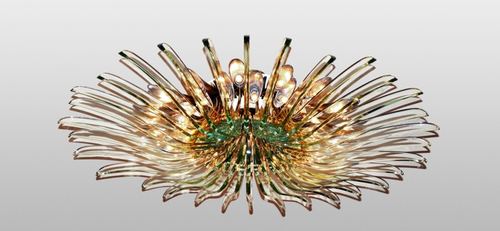 """The top lot of the sale, at $37,500, was this """"Dahlia"""" chandelier designed by Max Ingrand for Fontana Arte. It was produced circa 1958 and spans 60 inches in diameter. It was consigned from Susan Weber, the founder and director of New York's Bard Graduate Center."""