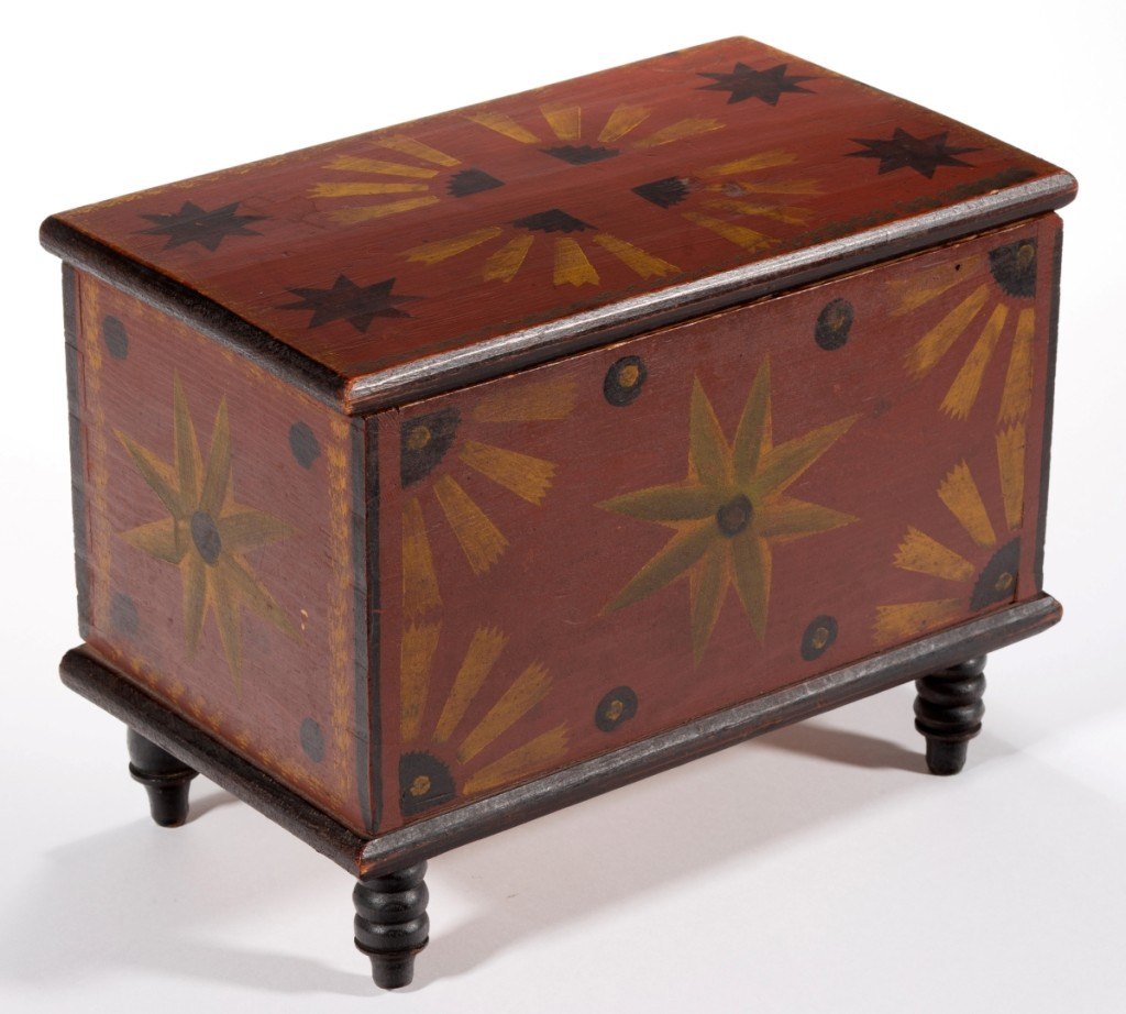 Painted smalls have sold well at Americana auctions recently. This folk art hand painted and stenciled diminutive box, attributed to the Stirewalt family of New Market, Va., followed that trend and sold for $38,025 ($20/30,000).