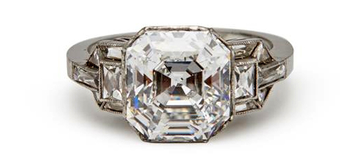This platinum and diamond ring with an Asscher-cut diamond weighing 4.59 carats flanked by 12 fancy-cut diamonds was the highest priced item in the sale. It finished at $146,400.