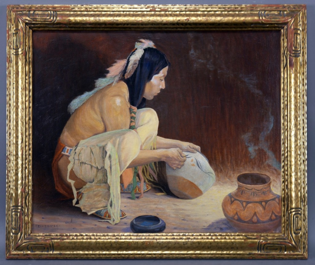 "Eanger Irving Couse (1866-1936), ""Untitled (The Pottery Decorator),"" 24 by 29 inches, oil on canvas, circa 1930, sold for $62,500."