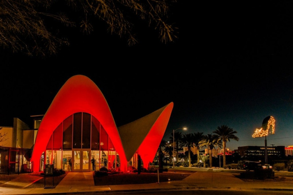 The Neon Museum Visitor Center is housed in the flaring Space Age lobby of the La Concha Motel, originally built in 1961.