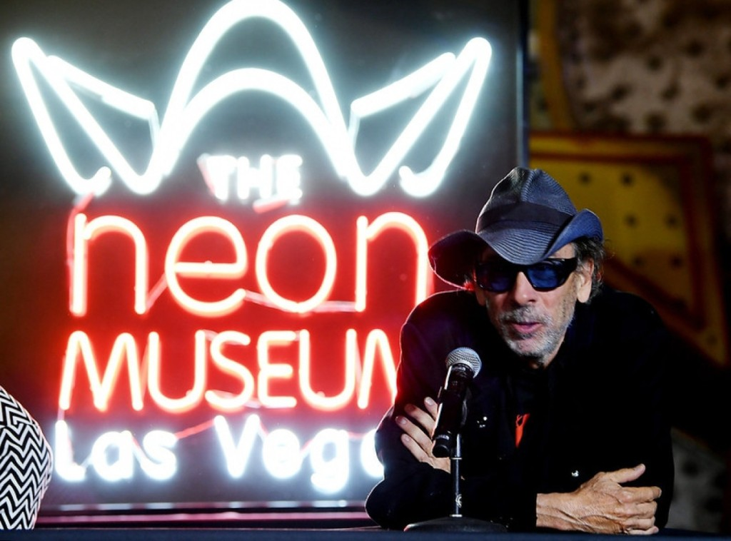 """As intriguing as his films, director Tim Burton was onstage for a press conference at the October opening of """"Lost Vegas."""" Photo by Denise Truscello/WireImage."""