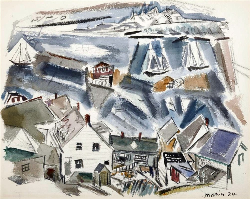 """This watercolor by John Marin, signed and dated 1924, """"Stonington Harbor, Deer Isle, Maine,"""" which sold for $97,600, was one of more than 30 works in the """"A Maine Perspective"""" collection. It was one of the two paintings selling at that price."""